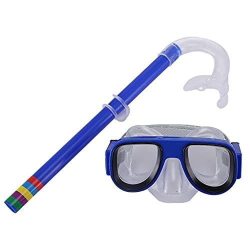 PPuujia Gafas de natación para niños de silicona HD con tubo de respiración, marco grande, no antiniebla, galvanoplastia, gafas de buceo impermeables (color: negro)