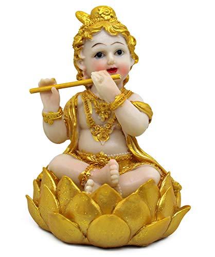 TIED RIBBONS Vergoldete Krishna Idol Statue Figur Dekorative Prunkstück (14 cm X 11 cm X 6,3 cm) - Dekorative Idol Statue Prunkstück  Mehrfarbig Standard