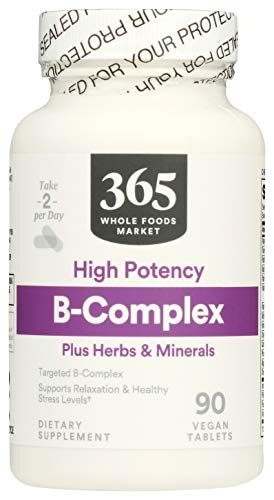 365 by Whole Foods Market, Supplements - Vitamins, B-Complex plus Herbs & Minerals - High Potency, 90 Count