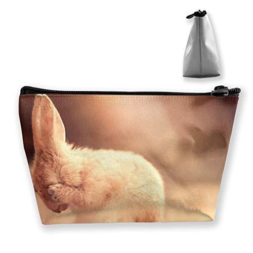 Trousse à maquillage trapézoïdale avec motif lapin mignon