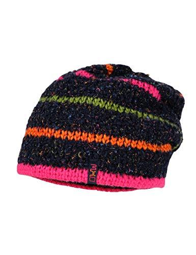 maximo Mädchen mit Blockringel Mütze, Mehrfarbig (Marine/Dunkelpink 4857), (Herstellergröße: 53)