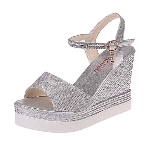 Sandalen Damen, Mode Damenmode Mode Keilsandaletten Kristall Freizeitschuhe High Schuhe Übergröße Mädchen Plateauschuhe(Silber,EU 34)