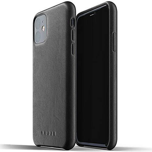 Mujjo Estuche para Apple iPhone 11 | Funda de Cuero Suave Efecto Envejecido Natural, Elevado 1 mm en la Pantalla, Cubierta súper Delgada (Negro)