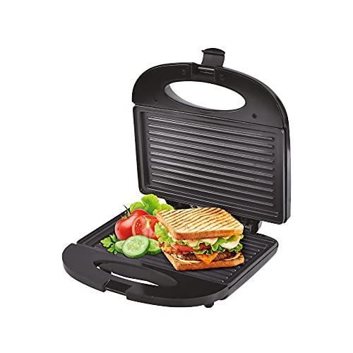 Sandwichera con placa antiadherente 750W con cierre, sellado perfecto, tostado rápido uniforme y limpio.