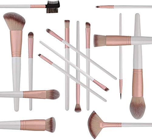 WEHQ Pinceau de Maquillage Set, 16pcs Maquillage Pinceaux Marque Vegan synthétique Pinceau Professionnel pour la Fondation Eyeliner avec Fard à paupières Sac cosmétique