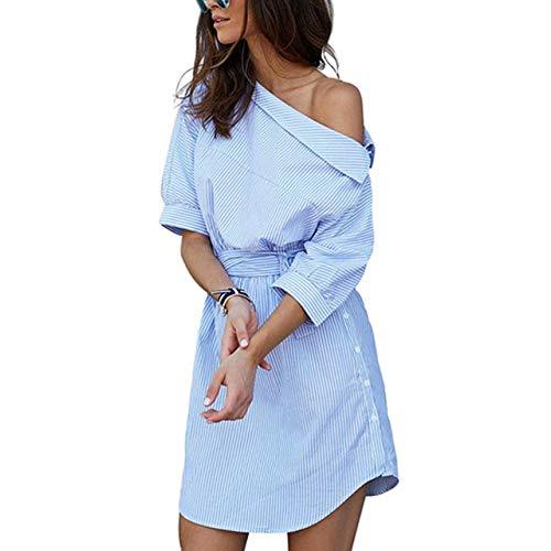 NOBRAND Sommerkleid für Damen, blau gestreiftes Hemd, kurzes Kleid, Mini, sexy, seitlicher Schlitz, halbe Ärmel, Strandkleid, Übergröße Gr. Small, himmelblau