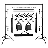 Background Stand, SEDGEWIN 10 x 6.5FT Adjustable Backdrop Stand Muslin Background Support System Stand for...