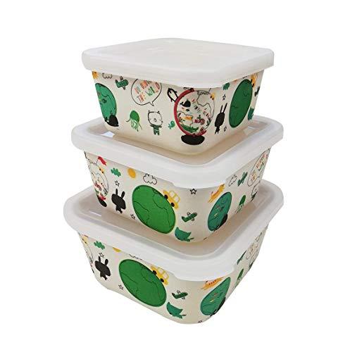 Tuper de Bambu Infantil ♻ 3 Tupers de Fibra de Bambú - Material Ecologico, Organico, Reciclable, Biodegradable - Ideal niños y bebé - Apto para Lavavajillas - Resistente y Ligero - Eco, Bio, Sin BPA