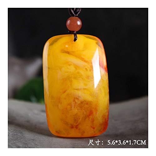 Collar de cadena de perlas de madera amarillas de cera de abejas natural de moda con colgante cuadrado para mujeres y hombres, joyas de regalo (color metálico: Style7)