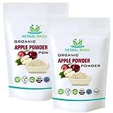 Herbal Magic Polvo de manzana orgánico, 100% natural, vegano, sin OMG, alta fibra y proteína (polvo de manzana orgánico, 200 g)
