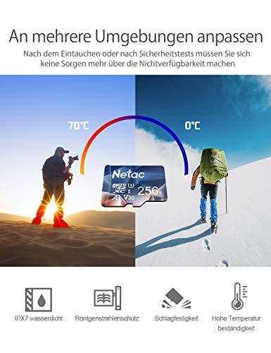 256G Speicherkarte + SD Adapter,Micro SD Karte(A1, U3, C10, V30, 4K, 667X), TF Memory Card UHS-I bis zu 100/30 MB/s(R/W) für Kameras, Dashcam, Switch und Smartphones