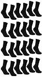 sockenkauf24 6 | 12 | 24 Paar THERMO Socken Damen und Herren Vollfrottee Schwarz Baumwolle mit Komfortb& (43-46, 24 Paar | schwarz)