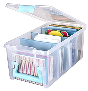 ArtBin 6925AA Semi Satchel with Removable Dividers Portable Art & Craft Organizer with Handle [1] Plastic Storage Case Clear with Aqua Accents 0