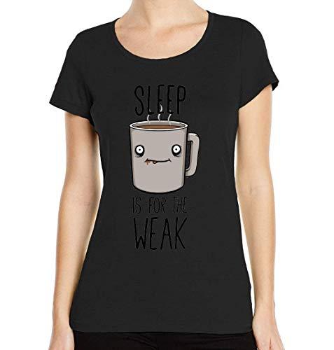 Slaap is voor de Zwakke Grappige Koffie Crew Neck Women's T-Shirt