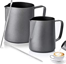 Yopay 2 Pack Milk Frothing Pitcher, 12oz/20oz 304 Stainless Steel Steaming Pitcher with Decorating Art Pen, Teflon Non-Stick Coating Coffee Cappuccino Latte Art Barista Milk Jug Cup