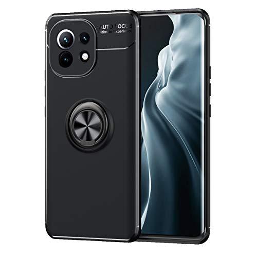 ALAMO Silikon Hülle für Xiaomi MI 11, StoßFest Handyhülle mit Ring Halterung - Schwarz