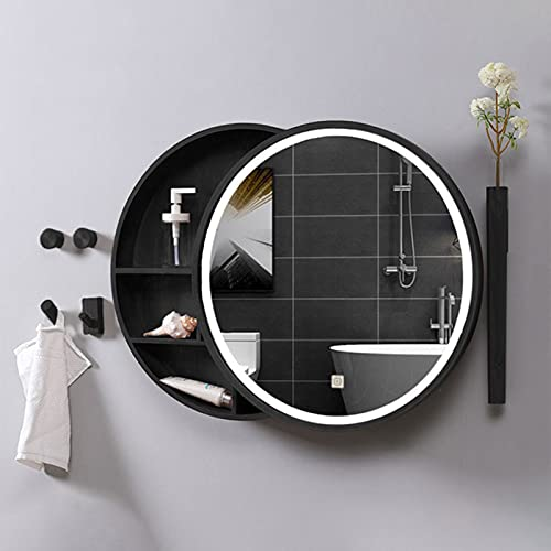 BAIHAO Espejo de baño con luz LED Espejo de baño Redondo montado en la Pared Gabinete de Madera Estilo Push-Pull Estante de Almacenamiento Espejo de tocador