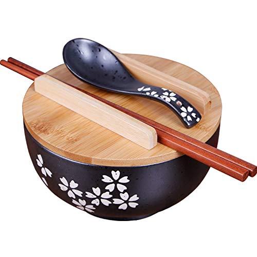 ZY&DD Japonais Style Bol en céramique,Noir Ramen Soupière,Baguettes avec Couvercle Rétro Vaisselle,Dessinés à la Main Bol à Salade-Noir 16cm(6inch)