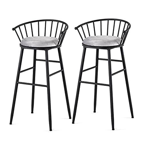 WWJZXC Juego de 2 taburetes de Bar con Respaldo Taburete de Bar de Terciopelo de Tela Patas de Metal Taburetes de Bar con Altura de mostrador nórdico Silla de Comedor de Cocina con Respaldo (29.5')