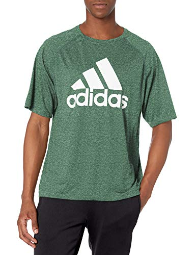 adidas mens Short Sleeve Clima Tee Dark Green Melange/White Small