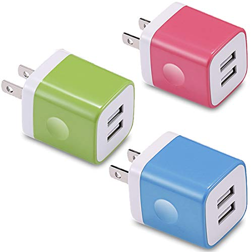 USB Wall Charger, KENHAO 3-Pack 2.1A/5V Dual Port USB Plug Power Adapter Charging Block Cube Compatible with iPhone 11 /Pro Max, XR/XS/X 8/7/6 Plus, Samsung, Moto, Kindle, Android Phone