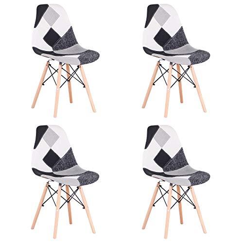 Uderkiny Set di 4 Sedia in Stile Nordico Sedia da Pranzo Patchwork, Adatte per Sala da Pranzo Soggiorno (Grigio)