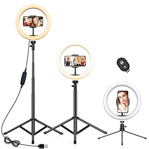 "10.2"" Ring Light with 2 Tripod Stand&Phone Holder,Anozer Dimmable Selfie Ring Light LED Camera Ringlight with 57.1"" Floor&Desktop Tripod for Live Stream/Makeup/YouTube, Compatible with iPhone/Android"