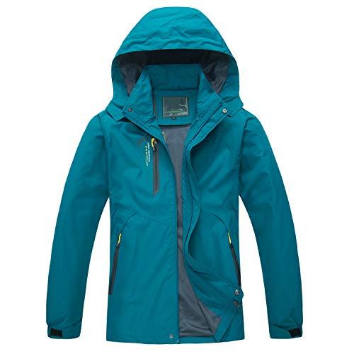 Naudamp Herren Outdoor wasserdichte Jacke Leichte Softshell Regenjacke Klettern Wandern Kleidung Mountain Multi-Pockets Windbreaker