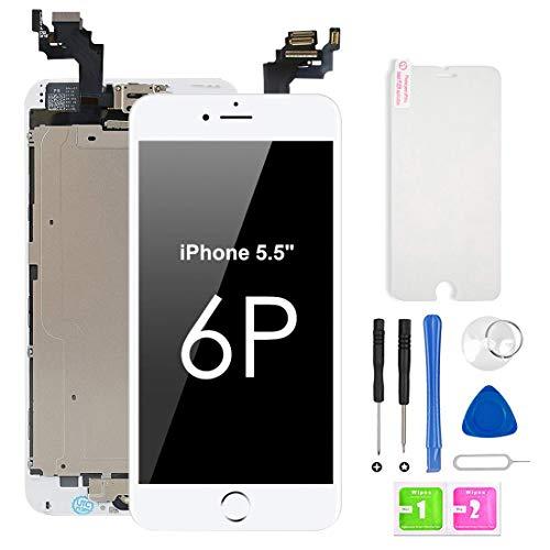Ecran LCD Vitre Tactile Complet sur Chassis pour iPhone 6 Plus Blanc avec Outils Bouton Home écouteur Interne Caméra De Face Tout Assemblé (5.5 Pouces)