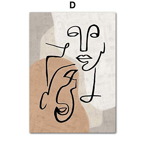 Abstract line Colorful Block of Nordic Art Posters and Prints on Canvas Picture, Wall Decorated for Living Room (No Frame)