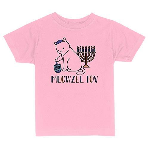 Meowzel Tov Cat Hanukkah Toddler Kids T-Shirt 2T Light Pink