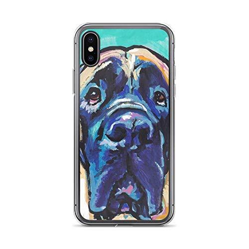 JSBFR Funda Compatible con iPhone 11 Pro Case English Mastiff Bright Colorful Pop Dog Art Case Cover