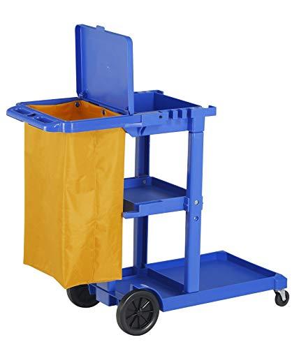 Chiner - Carro de limpieza multifunción azul con tapa y bolsa