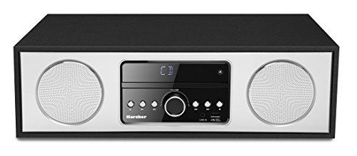 Karcher DAB 4500CD Compacte installatie met CD-speler (Bluetooth en FM/DAB+ Radio - elegante houten behuizing met 2x 15 Watt RMS stereo luidspreker - wekker, USB-poort en afstandsbediening)
