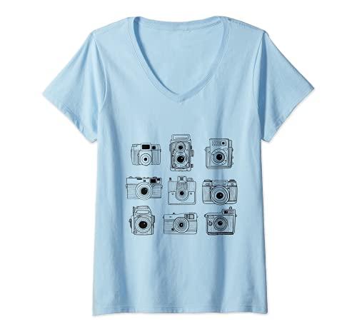 Mujer Fotografía Fotografía Cámara Foto Hobby Line Art Camiseta Cuello V