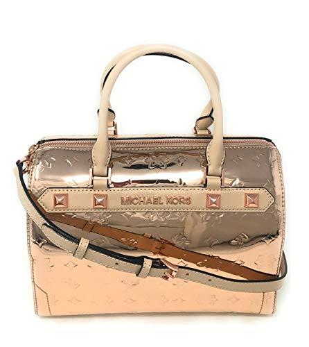 Michael Kors Kara Large Duffle Metallic Leather Satchel Shoulder Bag (Rose Gold)