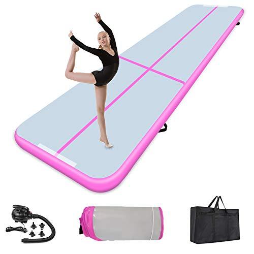 Air Track 3m Gymnastikmatte 10cm Dicke, Turnmatte Aufblasbar Gymnastik Tumbling Matte Trainingsmatte mit elektrischer Luftpumpe, Gymnastikmatte für zuhause Outdoor Yoga (300 * 100 * 10cm, Pink)