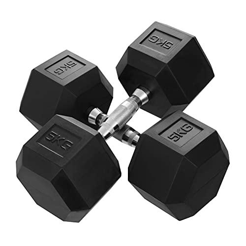 KingSaid 2 mancuernas de goma hexagonales de 15 kg, para gimnasio, fitness, entrenamiento, levantamiento de pesas, 15 kg, 1 par
