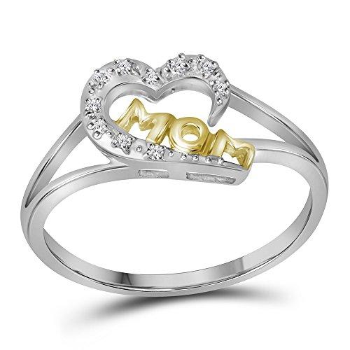 Sterling Plata Diamante Mamá Anillo de las madres corazón 2-Tone diseño de pequeñas 1/20quilates (I2-I3claridad, J-K Color)