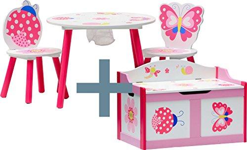 IB-Style - Kindersitz- und Spielgruppe PAPILLON | 6 Kombinationen | 4-er Set: 1 Tisch + 2 Stühle + 1 Truhenbank - Stuhl Truhenbank Kindermöbel Tisch Kindertisch Kinderstuhl Tafel Standtafel Kinderregal