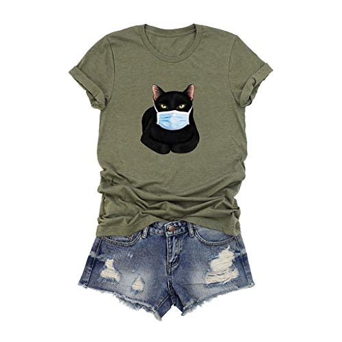 Graphic Tops for Women Plus Size Short Sleeve T Shirts Casual Summer Cute Cat Print Vintage Tees for Teen Girls Army Green