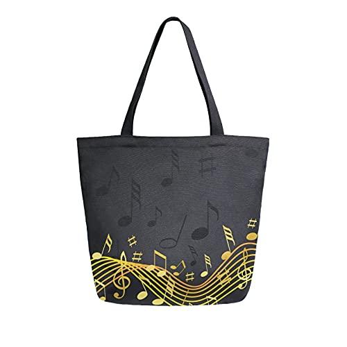 MeetuTrip - Bolsa de lona negra para mujer, grande, reutilizable, bolsa de hombro, para escuela, adolescentes, niñas, viajes, profesora de playa