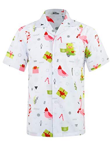 APTRO Herren Hemd Hawaiihemd Freizeit Hemd Kurzarm Urlaub Hemd Reise Shirt Geschenk Weiß HW031 XXL