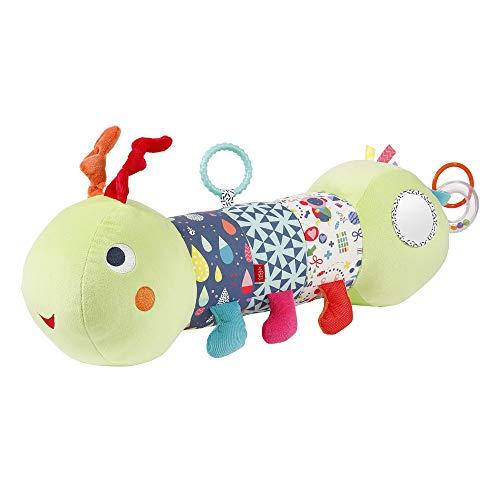 Fehn 055436 Krabbelrolle Raupe COLOR Friends – Krabbel-Hilfe im lustigen Raupen-Design mit Spielfunktionen für Babys & Kleinkinder ab 0+ Monaten – Größe: 48 cm