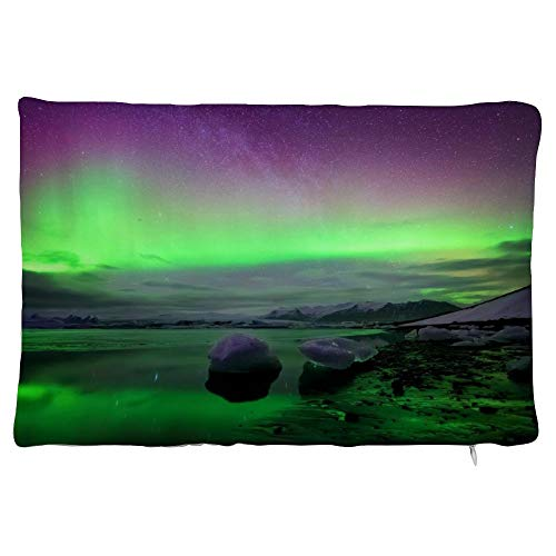 happygoluck1y Lake Ice and Aurora Nature View Velvet Rectangular Cushion Covers 30x50 Decorative Pillow Cases with Zipper for Sofa Teen Girls