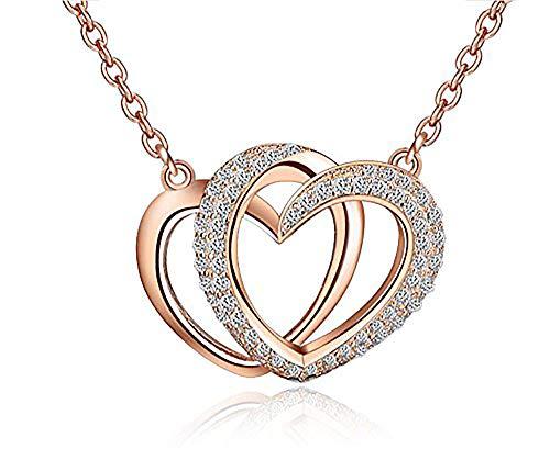 findout dames sterling zilver dubbele liefde Cubic Zircons hart hanger ketting .voor vrouwen meisjes. (f117)