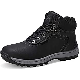 ABTOP Mens Womens Snow Boots Winter Warm Ankle Boots Fully Fur Lined Anti-Slip Leather Waterproof Safety Boots Work Shoes Size 4-12.5 Holes for Walking,Hiking,Outdoor,Urban (9.5 UK, A7445-black1)