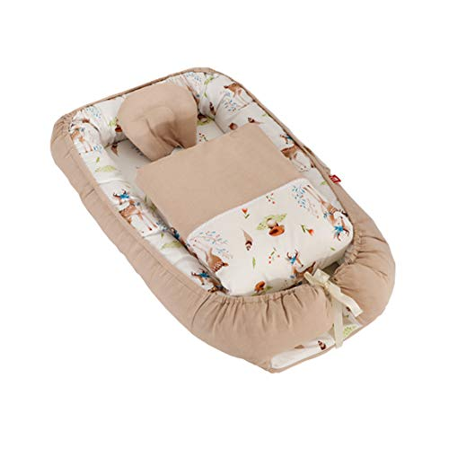 DorkasDE Babynest Kuschelnest Matratze im Bett Faltbett Doppelseitig Babybett Reisebett mit Steppdecke