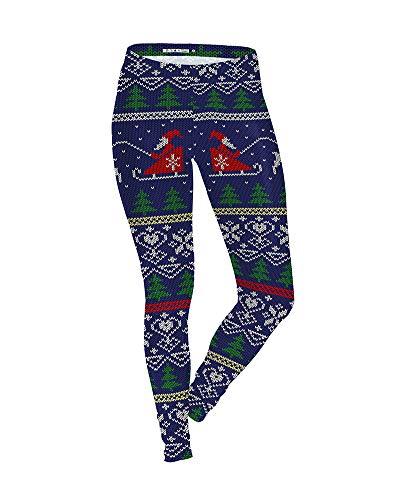 Liangzhu Damen Sport Strumpfhose Leggings Weihnachten Mit Muster Fitness Yoga Joggen Pants Hose 038 2XL