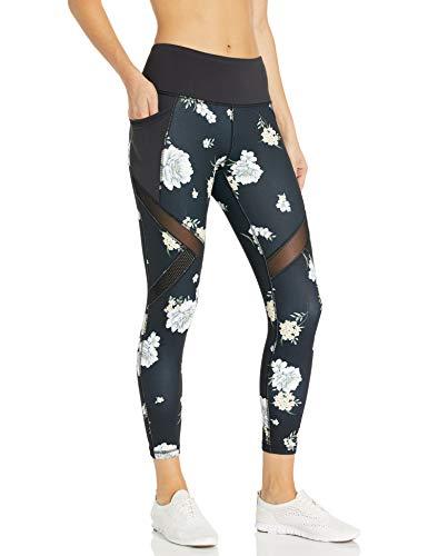Betsey Johnson Women's Wild Flower Print High Rise Diagonal Mesh Insert 7/8 Legging, Extra Small